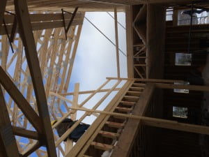 Stick Frame - looking up through stair well
