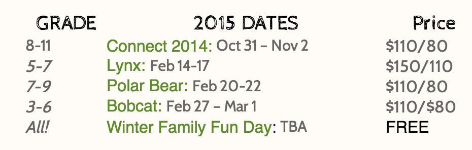 Winter Date Chart